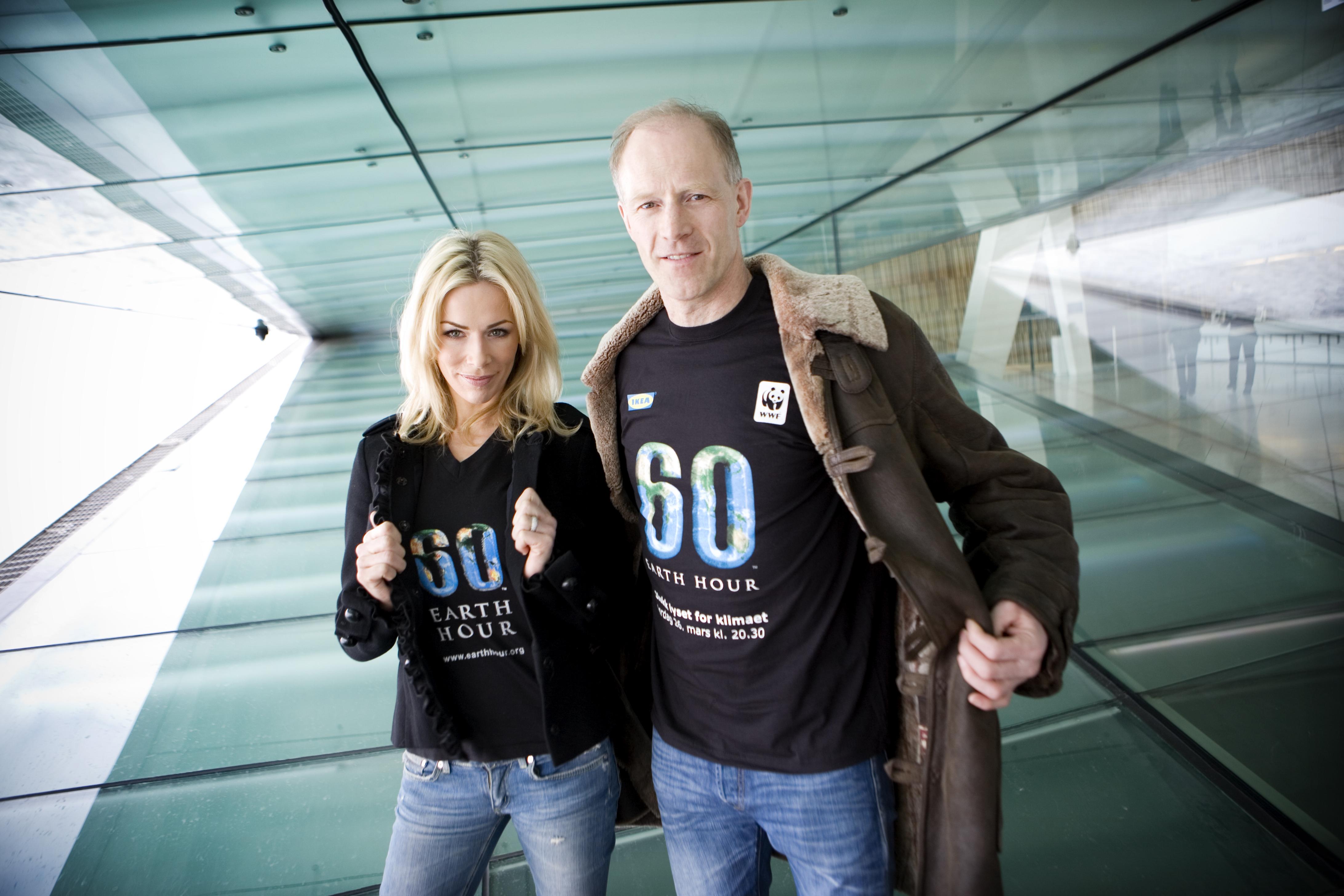 Årets Earth Hour-ambassadører: Gunhild Stordalen og Børge Ousland. Bilde: Ivan Tostrup.