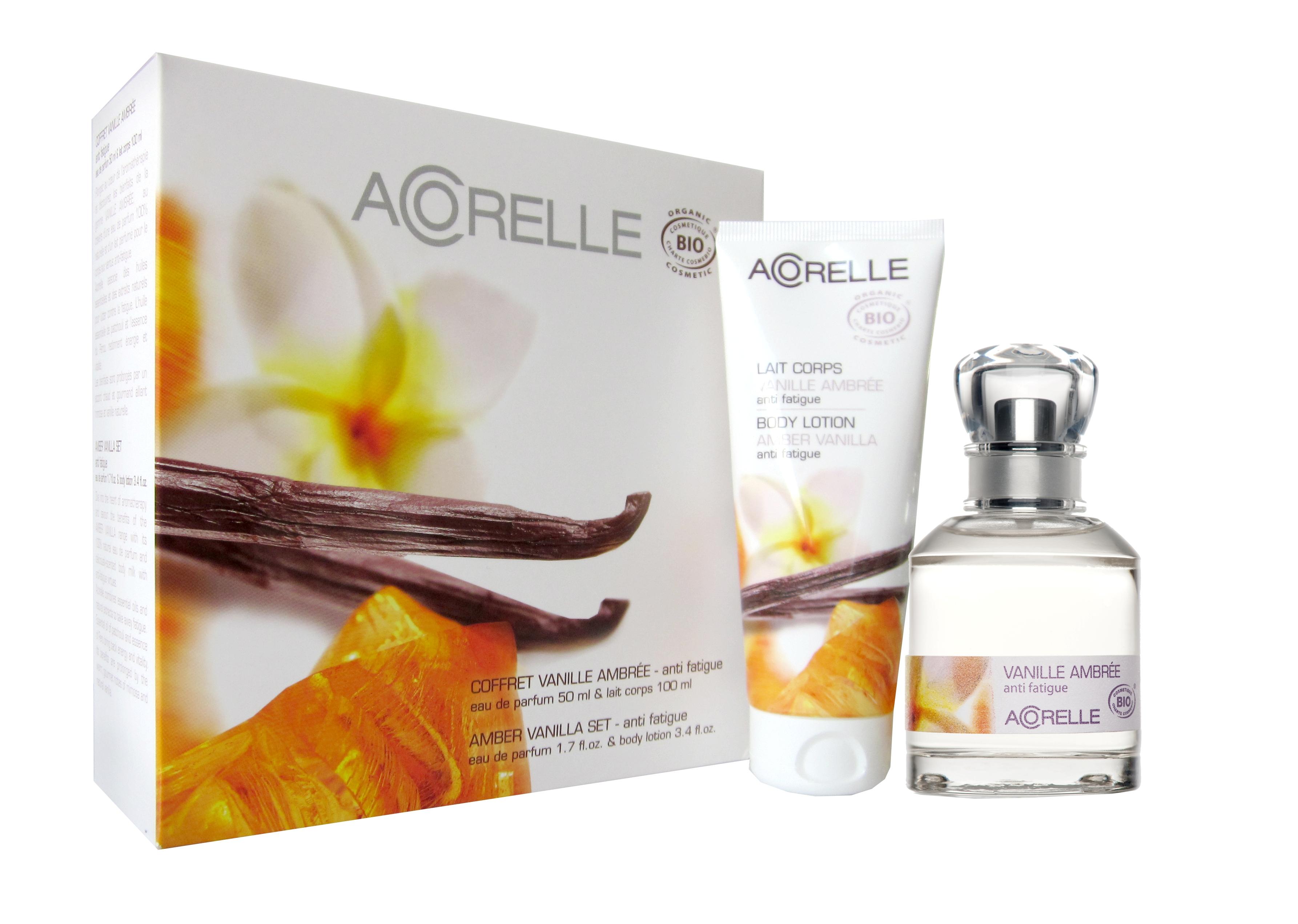 Økologisk parfyme og body milk med duft av vanilje fra Acorelle